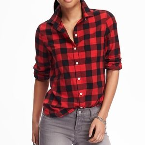 Old Navy Red Buffalo Checkered Button Front Top